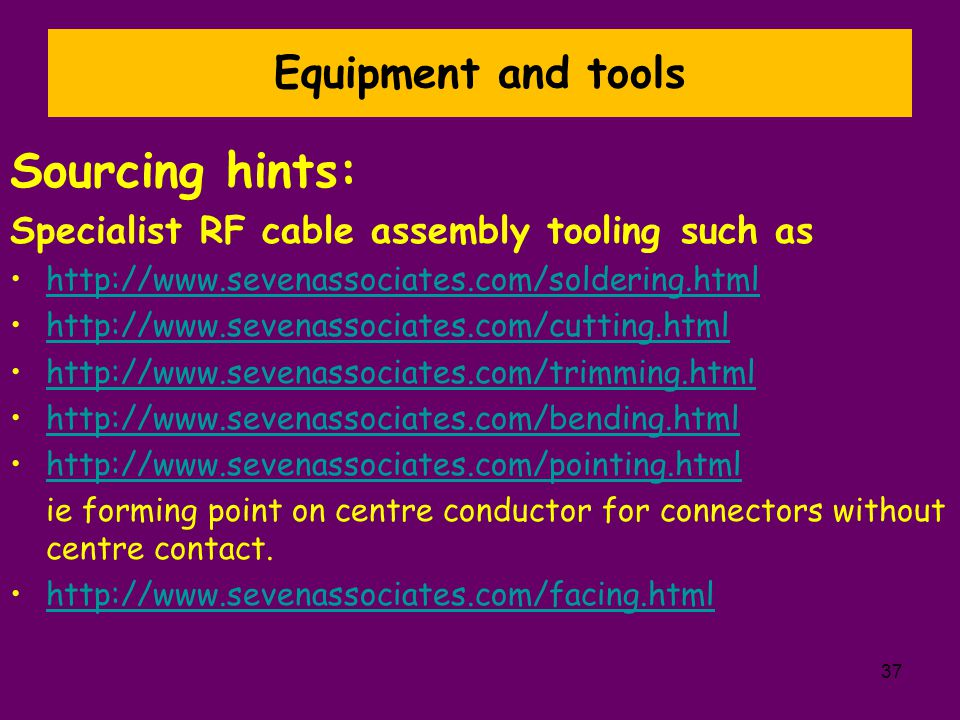 Sourcing hints: Equipment and tools