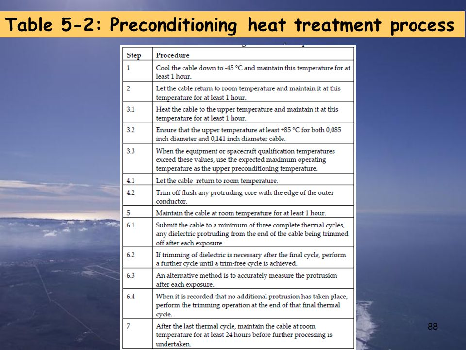 Table 5-2: Preconditioning heat treatment process