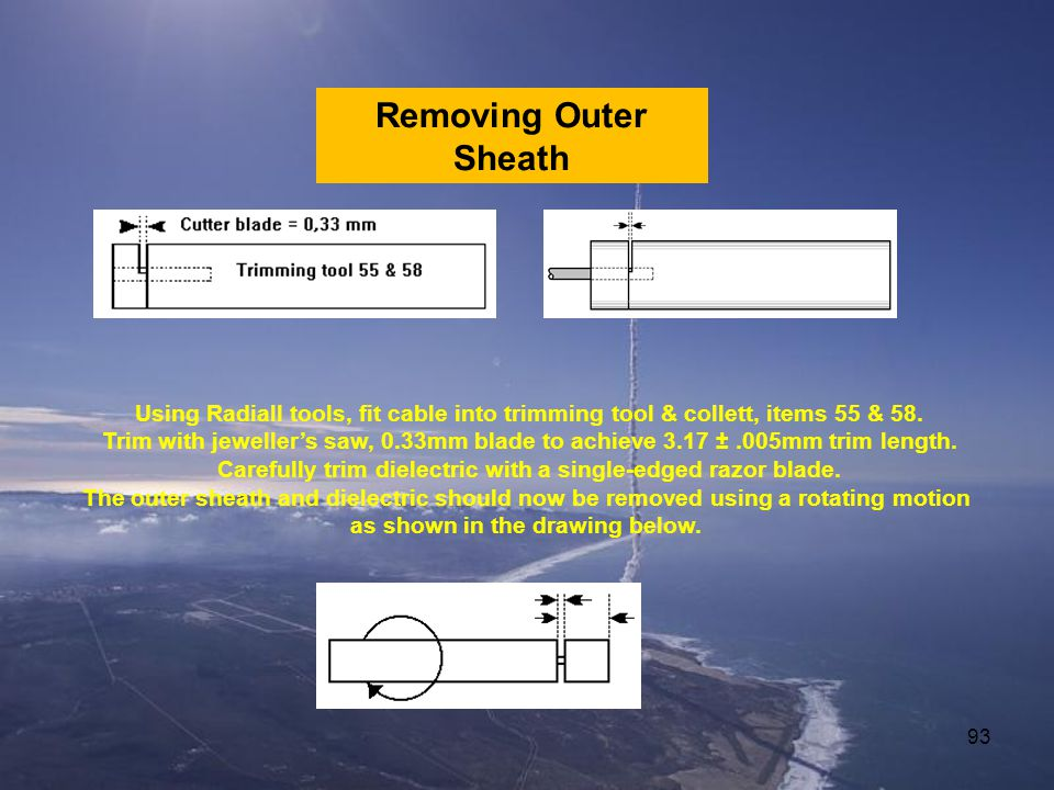 Removing Outer Sheath Using Radiall tools, fit cable into trimming tool & collett, items 55 & 58.