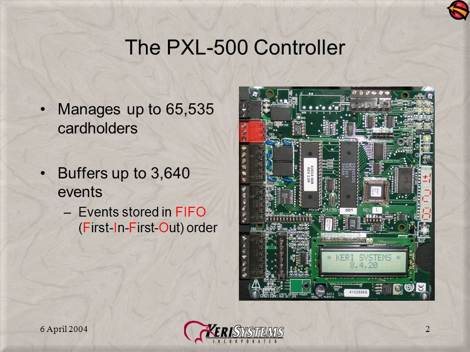 The PXL-500 Controller Manages up to 65,535 cardholders