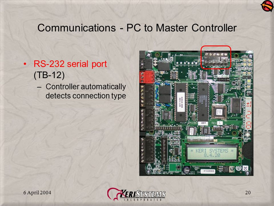 Communications - PC to Master Controller