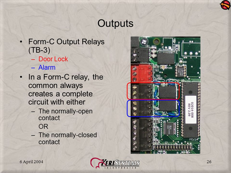 Outputs Form-C Output Relays (TB-3)