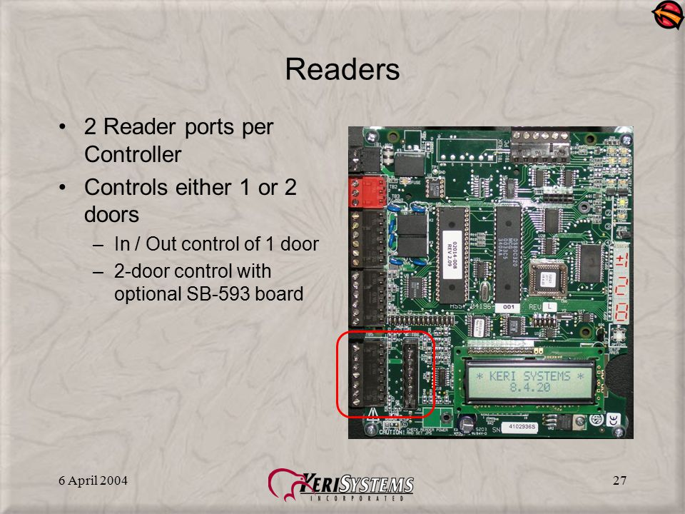 Readers 2 Reader ports per Controller Controls either 1 or 2 doors