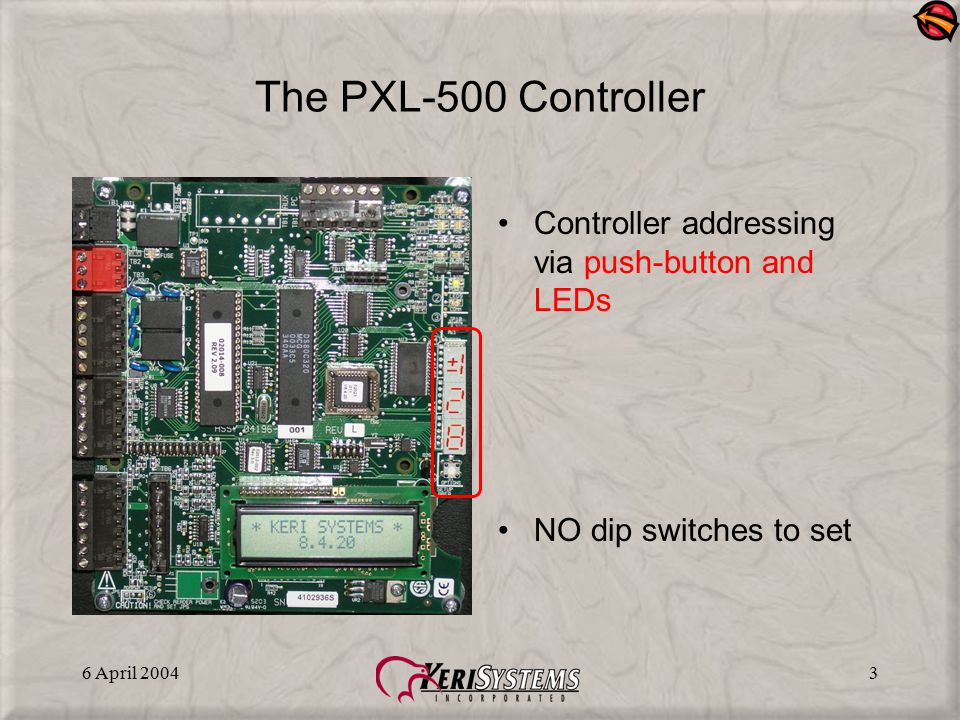 The PXL-500 Controller Controller addressing via push-button and LEDs