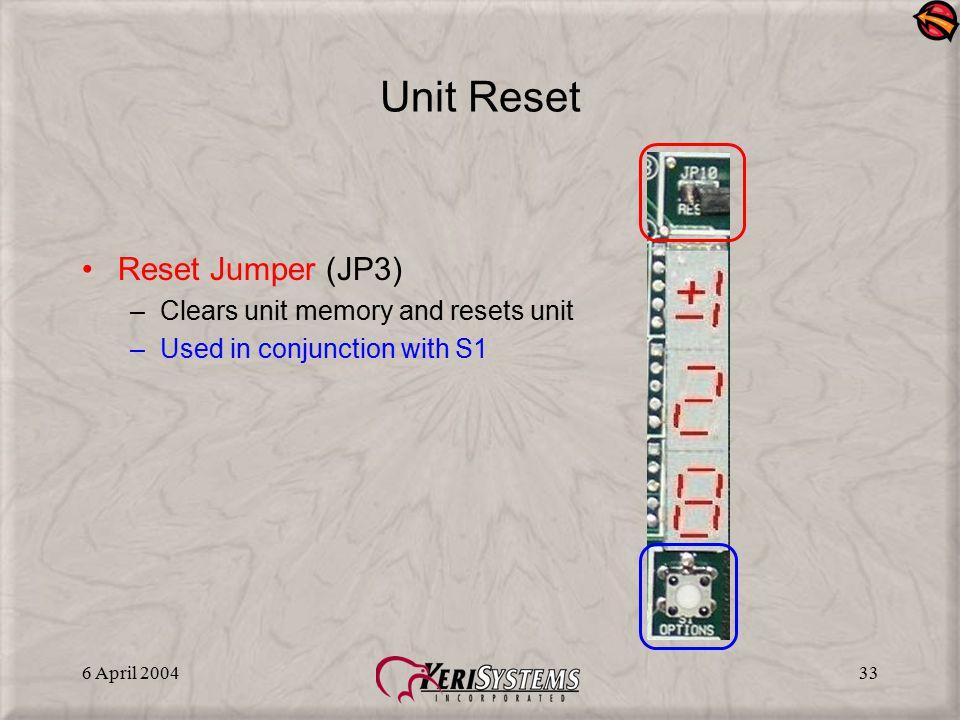 Unit Reset Reset Jumper (JP3) Clears unit memory and resets unit
