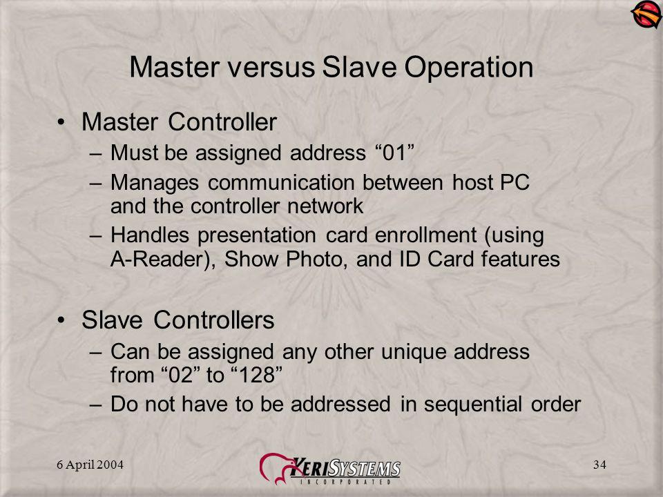 Master versus Slave Operation