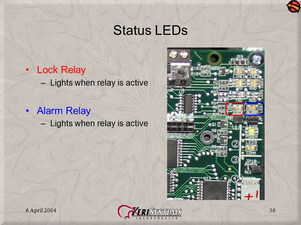 Status LEDs Lock Relay Alarm Relay Lights when relay is active