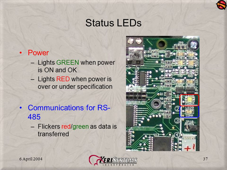 Status LEDs Power Communications for RS-485
