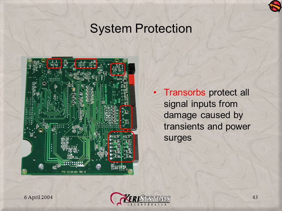 System Protection Transorbs protect all signal inputs from damage caused by transients and power surges.