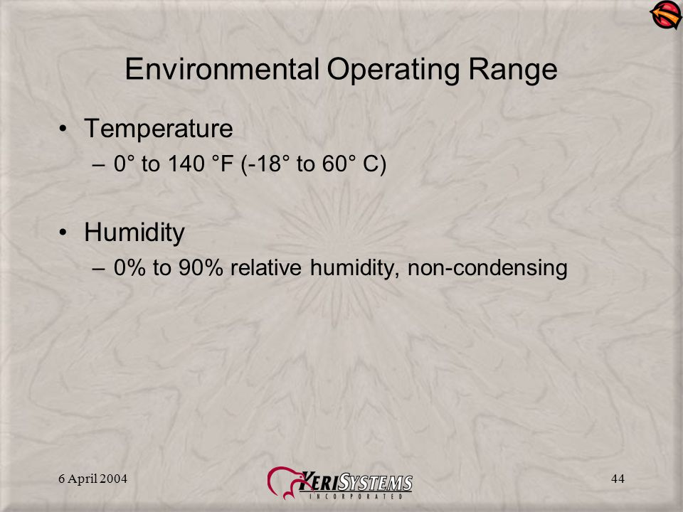 Environmental Operating Range
