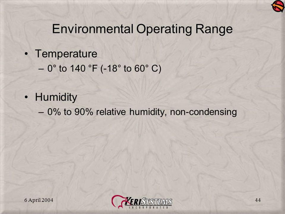 Environmental Operating Range