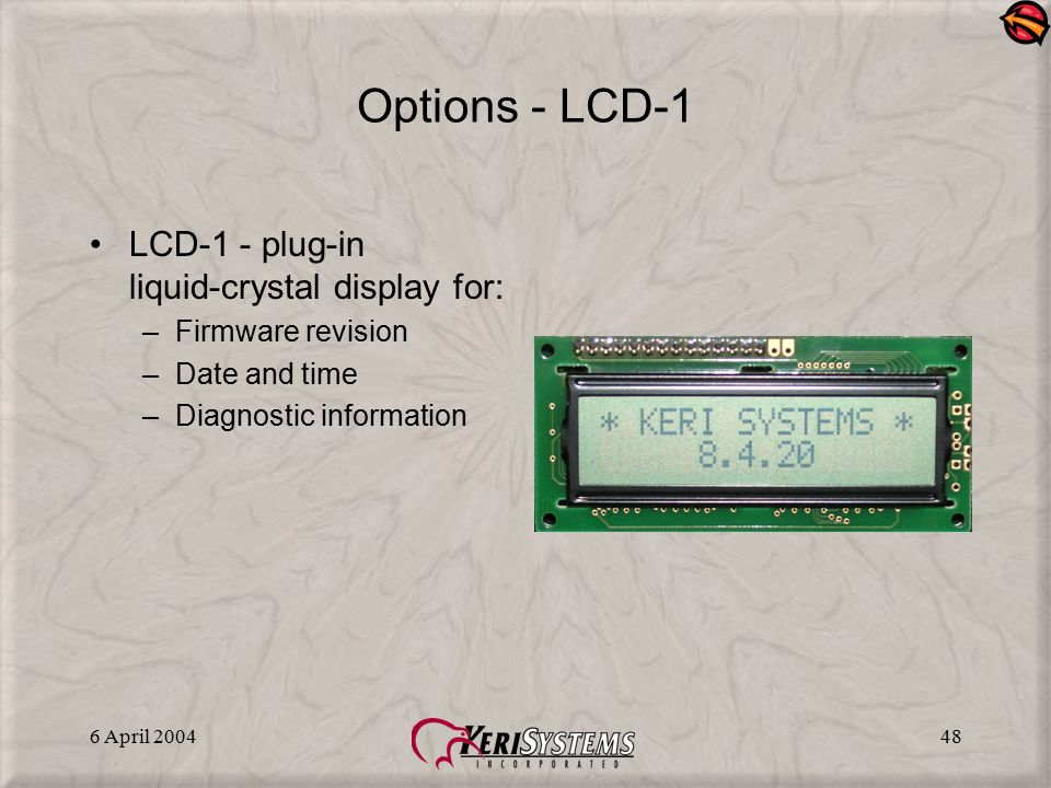 Options - LCD-1 LCD-1 - plug-in liquid-crystal display for: