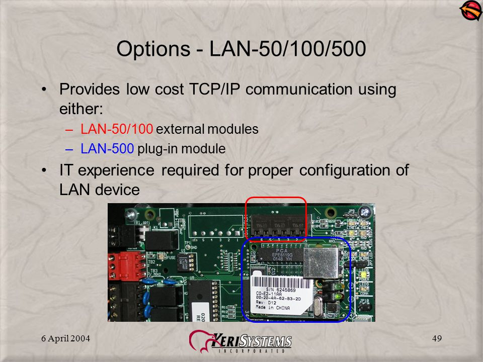 Options - LAN-50/100/500 Provides low cost TCP/IP communication using either: LAN-50/100 external modules.