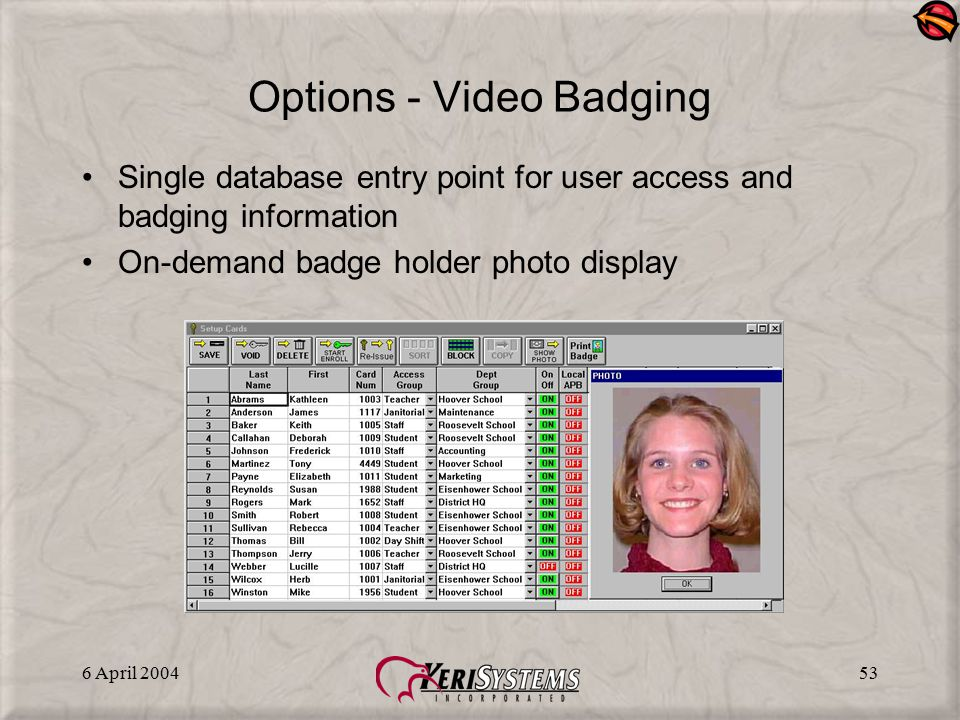 Options - Video Badging