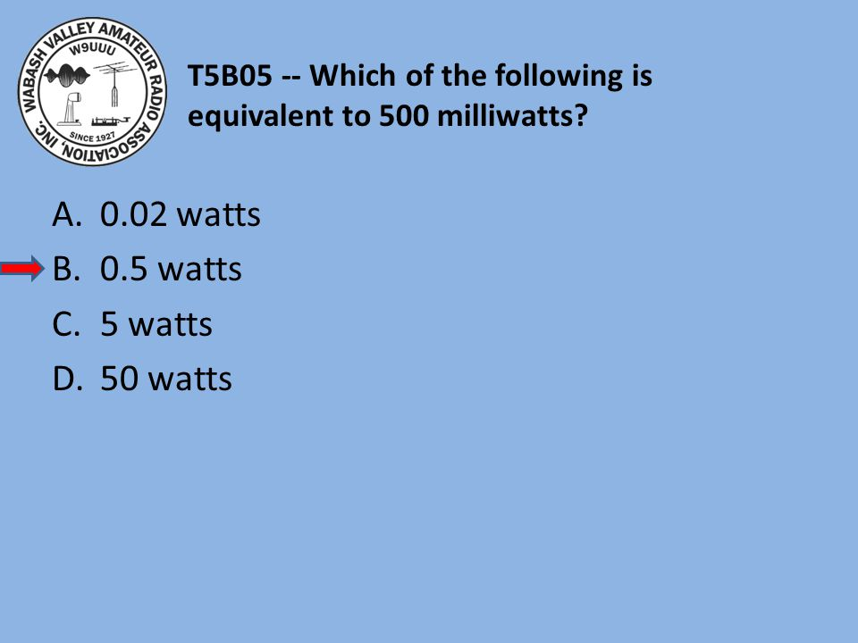 T5B05 -- Which of the following is equivalent to 500 milliwatts