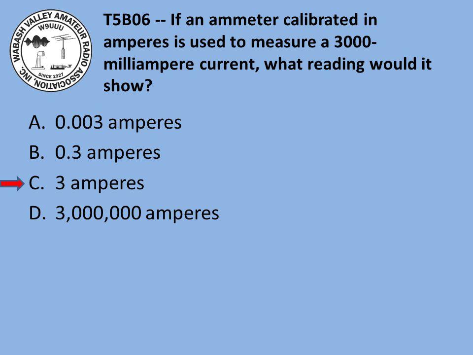 0.003 amperes 0.3 amperes 3 amperes 3,000,000 amperes