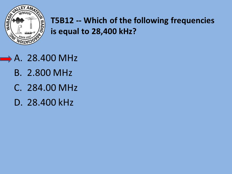 T5B12 -- Which of the following frequencies is equal to 28,400 kHz
