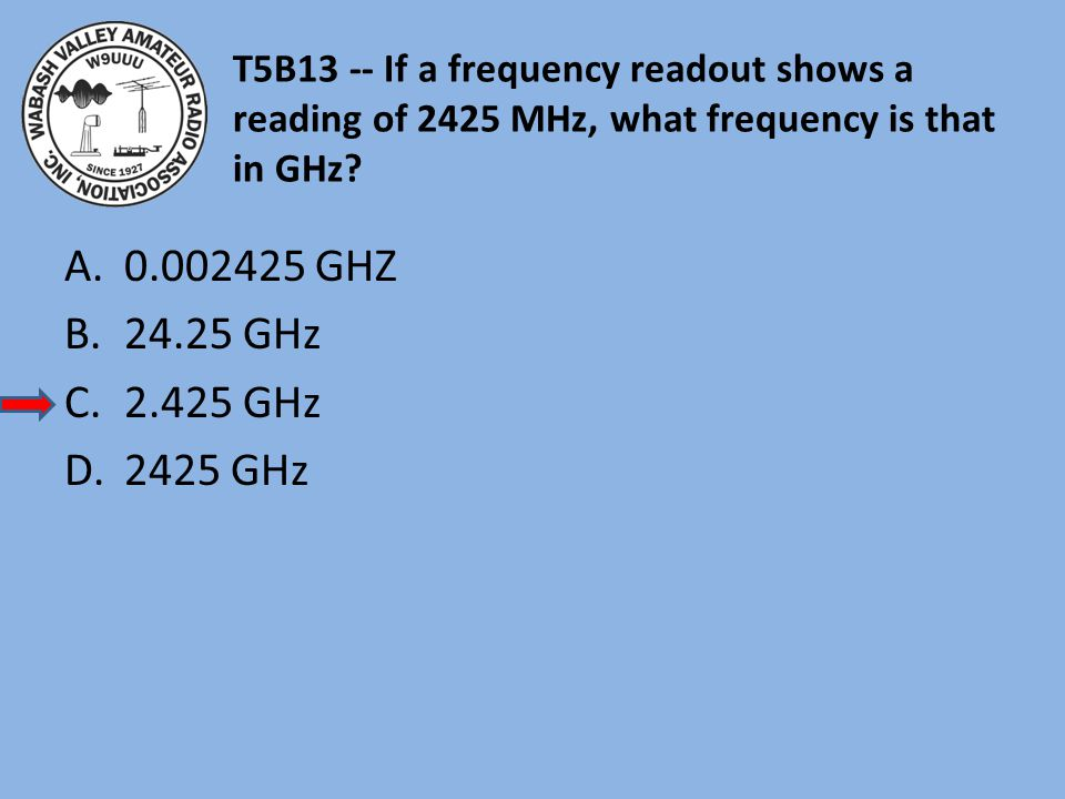 T5B13 -- If a frequency readout shows a reading of 2425 MHz, what frequency is that in GHz