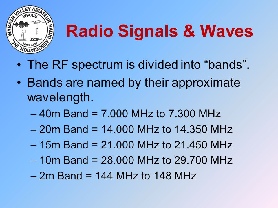 Radio Signals & Waves The RF spectrum is divided into bands .