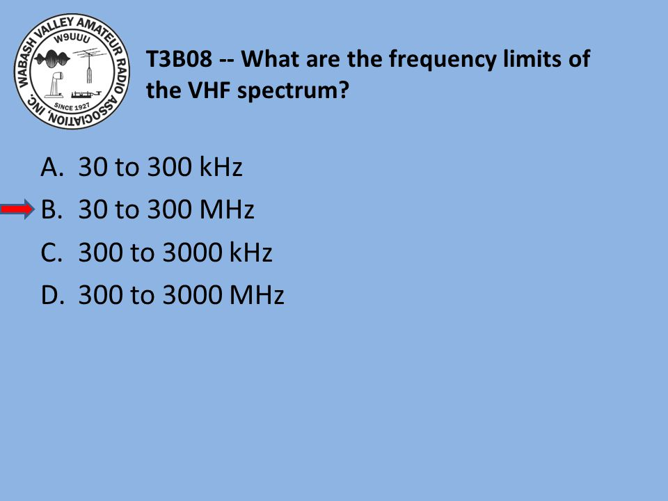 T3B08 -- What are the frequency limits of the VHF spectrum