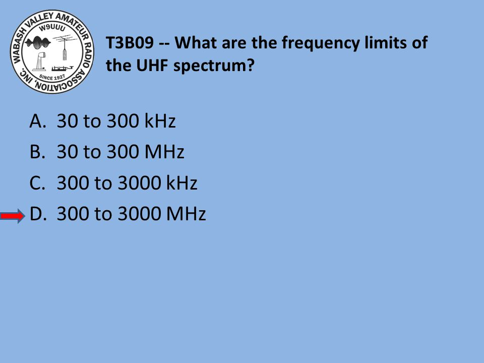T3B09 -- What are the frequency limits of the UHF spectrum