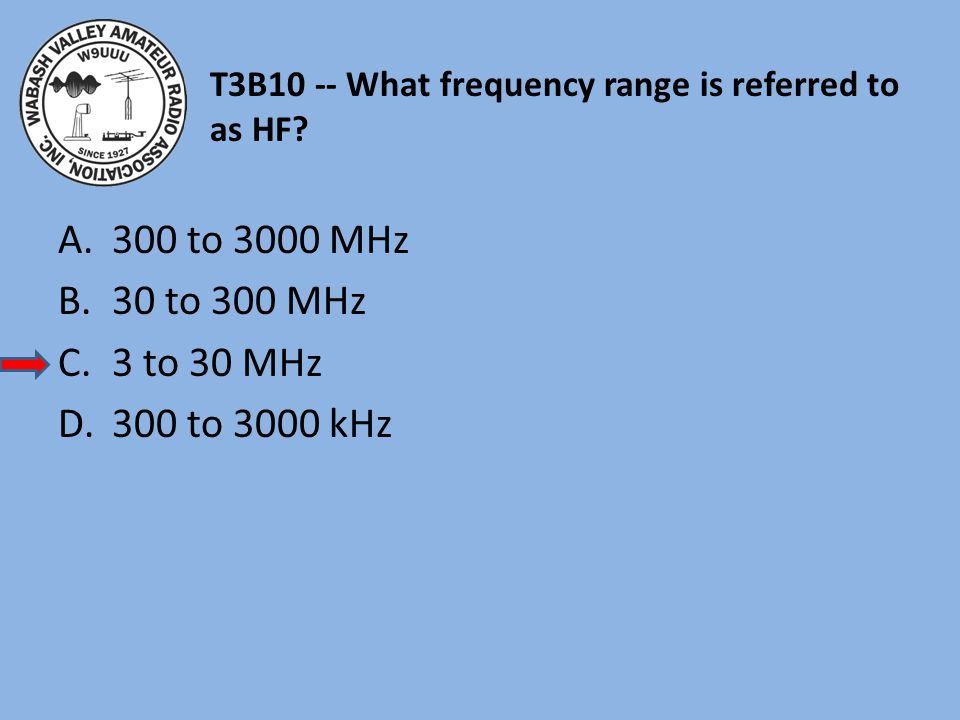 T3B10 -- What frequency range is referred to as HF