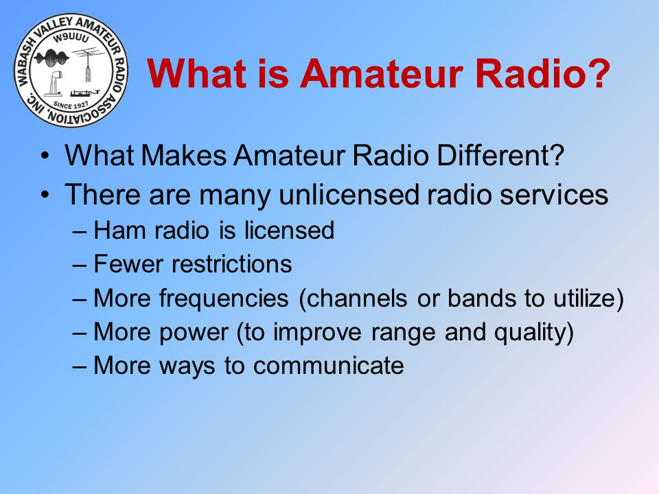 What is Amateur Radio What Makes Amateur Radio Different