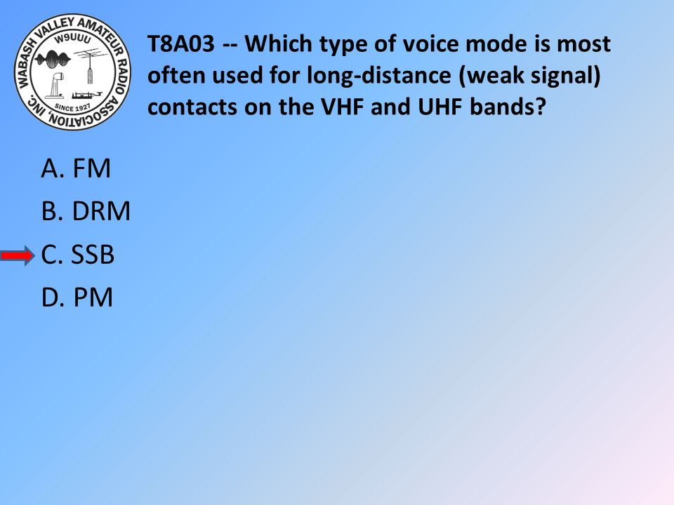 T8A03 -- Which type of voice mode is most often used for long-distance (weak signal) contacts on the VHF and UHF bands