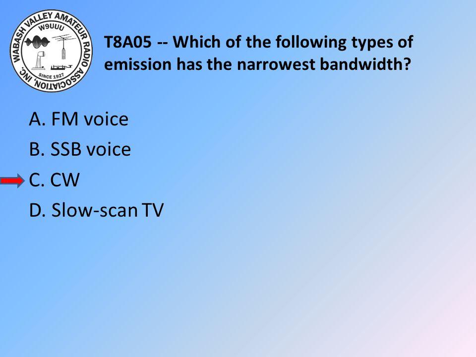 A. FM voice B. SSB voice C. CW D. Slow-scan TV