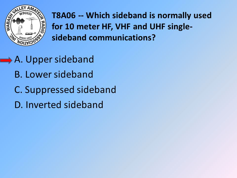 T8A06 -- Which sideband is normally used for 10 meter HF, VHF and UHF single-sideband communications