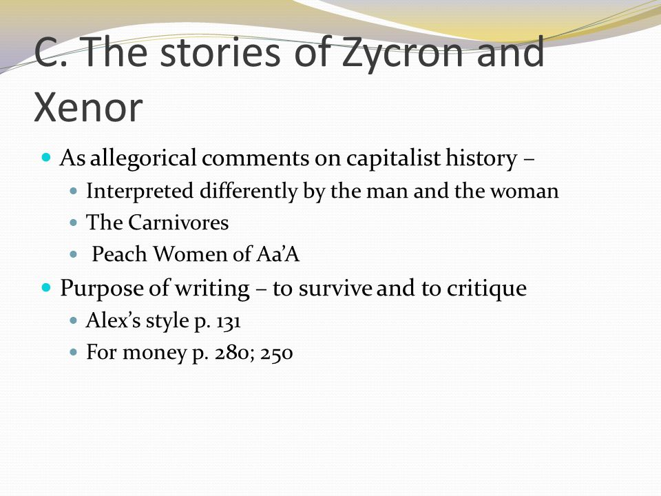 C. The stories of Zycron and Xenor
