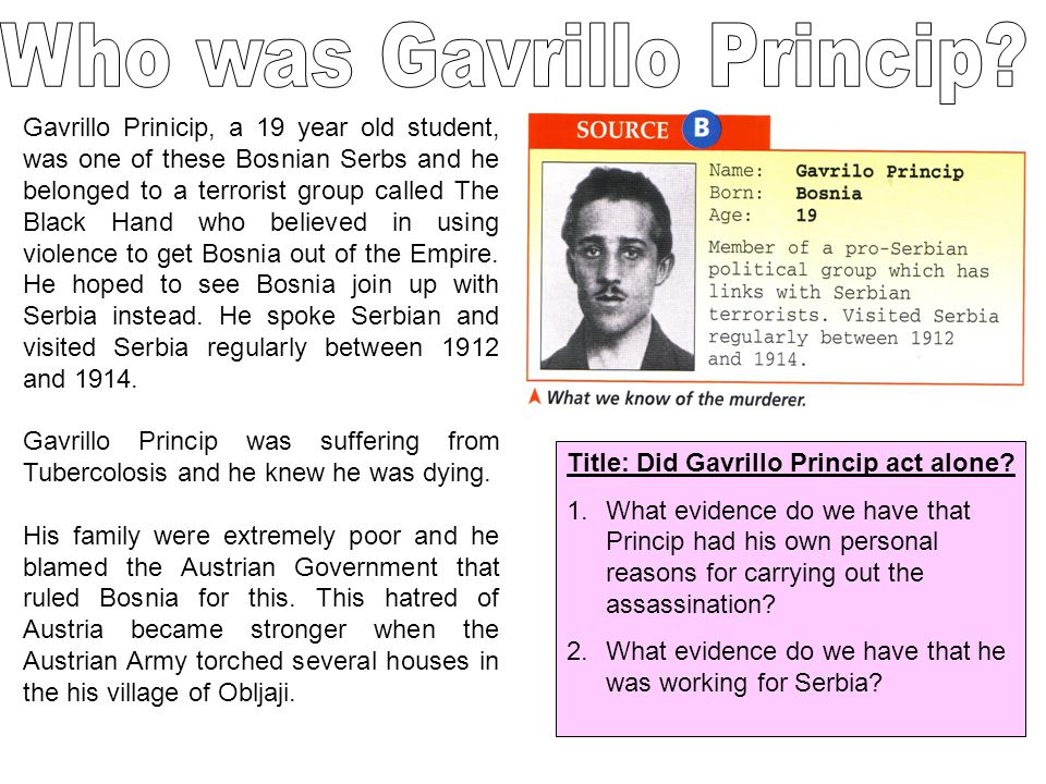 Who was Gavrillo Princip