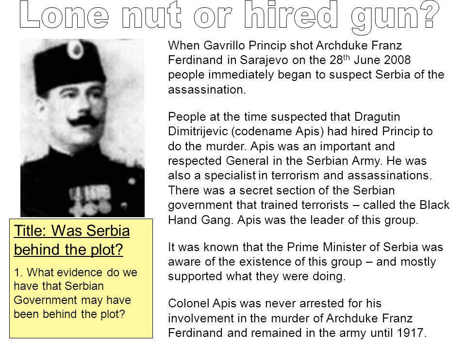 Lone nut or hired gun Title: Was Serbia behind the plot