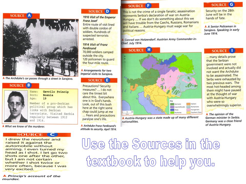 Use the Sources in the textbook to help you.