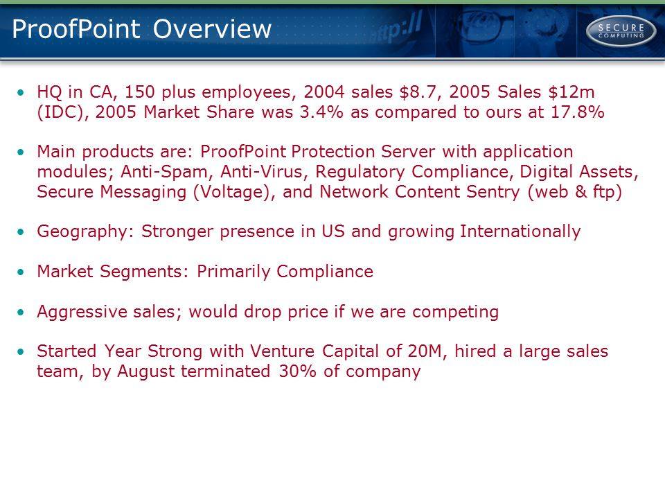 ProofPoint Overview HQ in CA, 150 plus employees, 2004 sales $8.7, 2005 Sales $12m (IDC), 2005 Market Share was 3.4% as compared to ours at 17.8%
