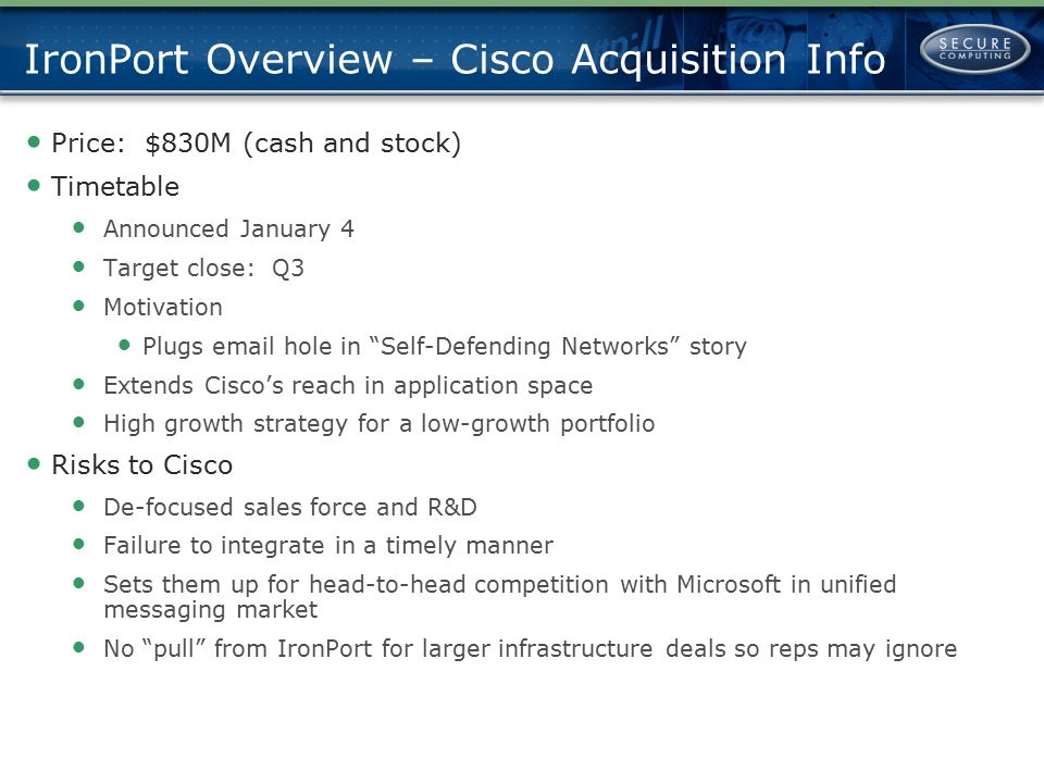 IronPort Overview – Cisco Acquisition Info