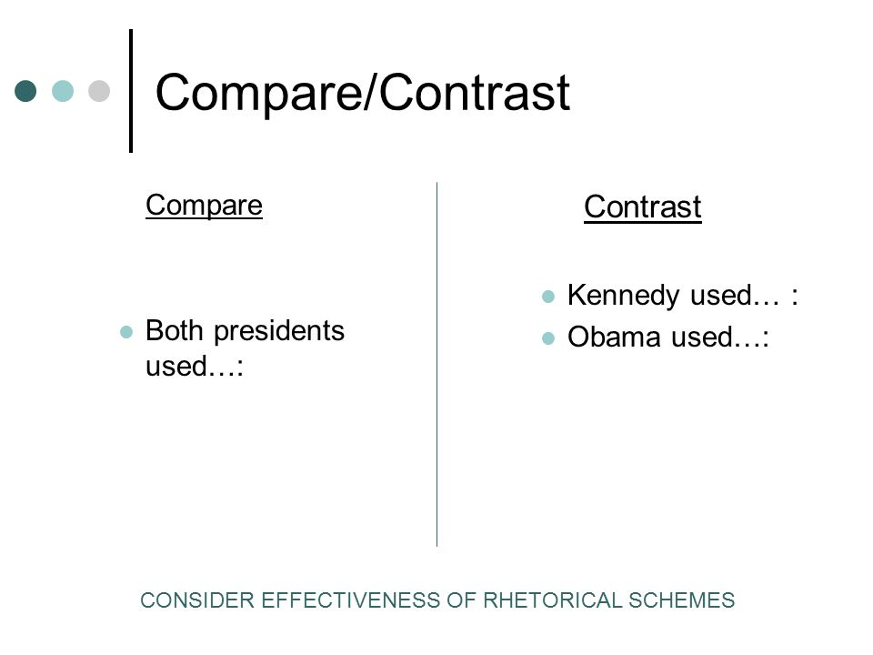 Compare/Contrast Contrast Compare Kennedy used… :