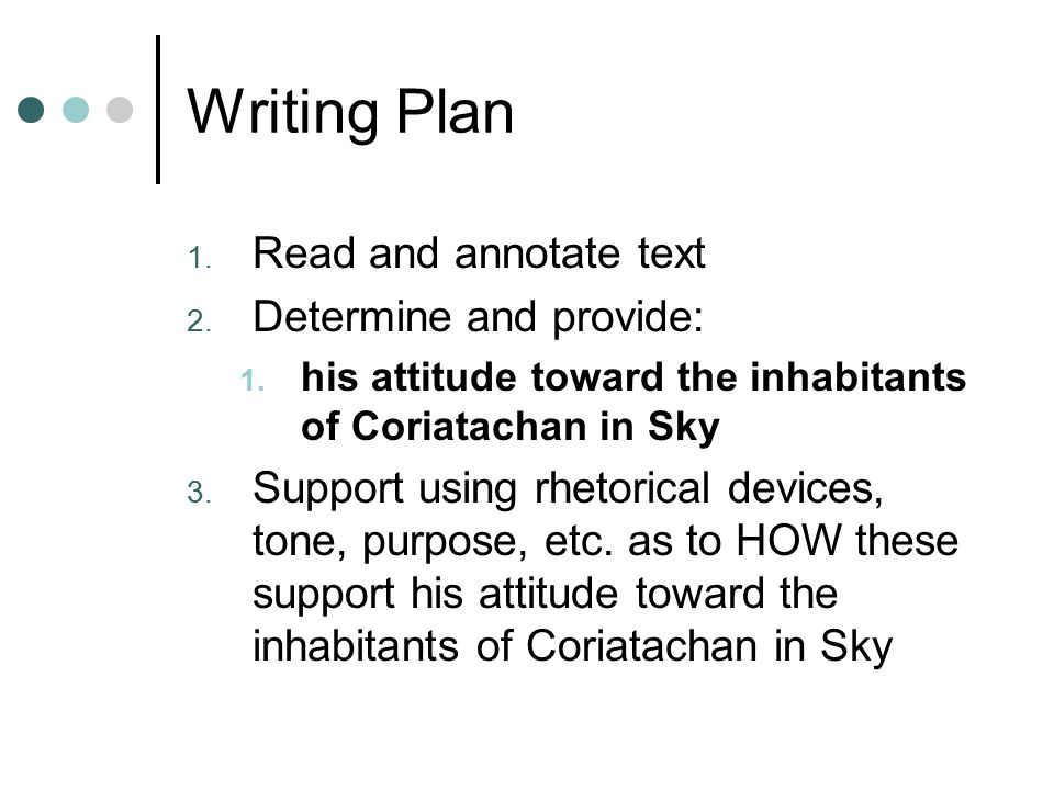 Writing Plan Read and annotate text Determine and provide:
