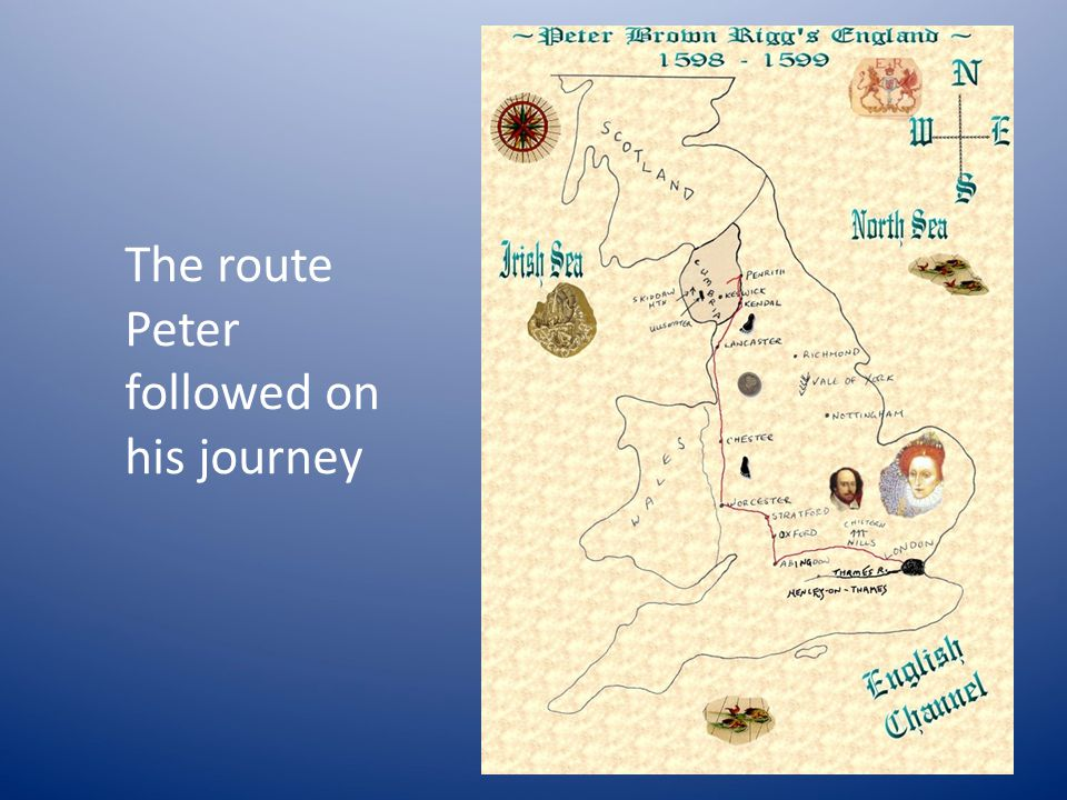 The route Peter followed on his journey
