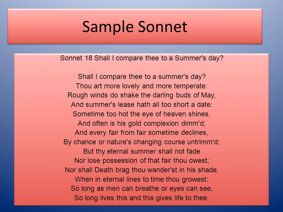Sample Sonnet