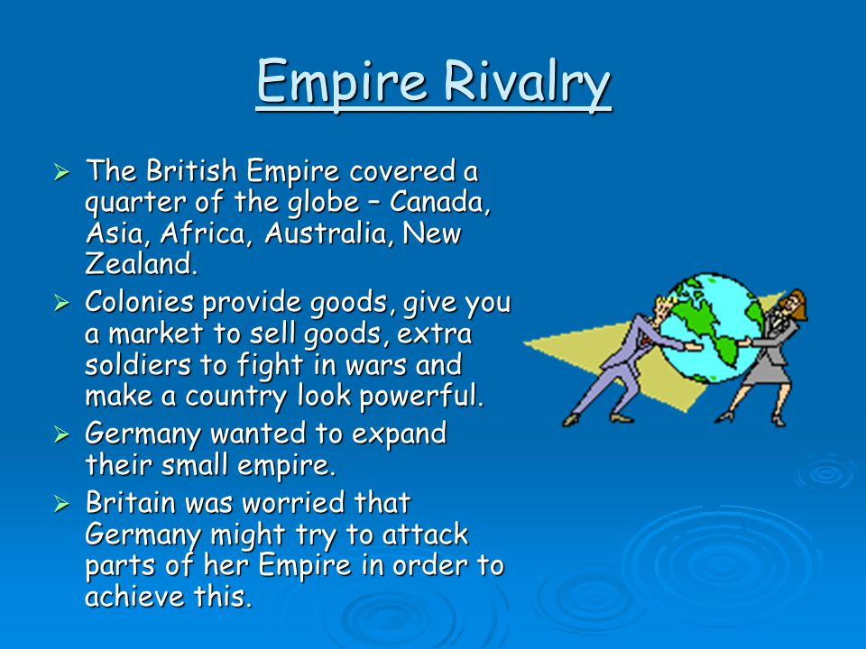 Empire Rivalry The British Empire covered a quarter of the globe – Canada, Asia, Africa, Australia, New Zealand.