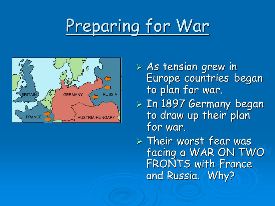 Preparing for War As tension grew in Europe countries began to plan for war. In 1897 Germany began to draw up their plan for war.