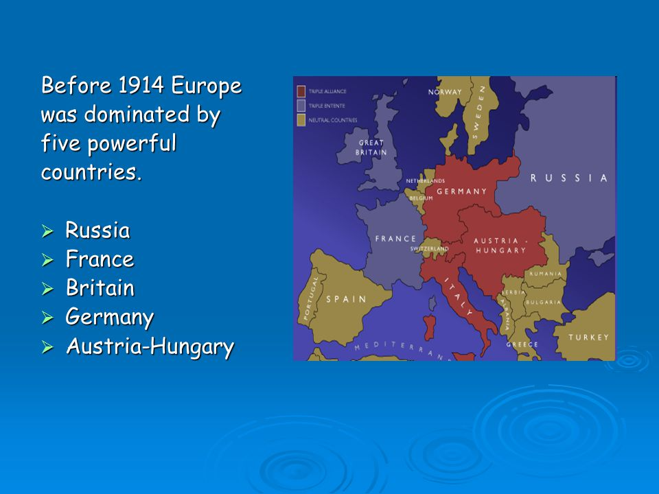 Before 1914 Europe was dominated by. five powerful. countries. Russia. France. Britain. Germany.