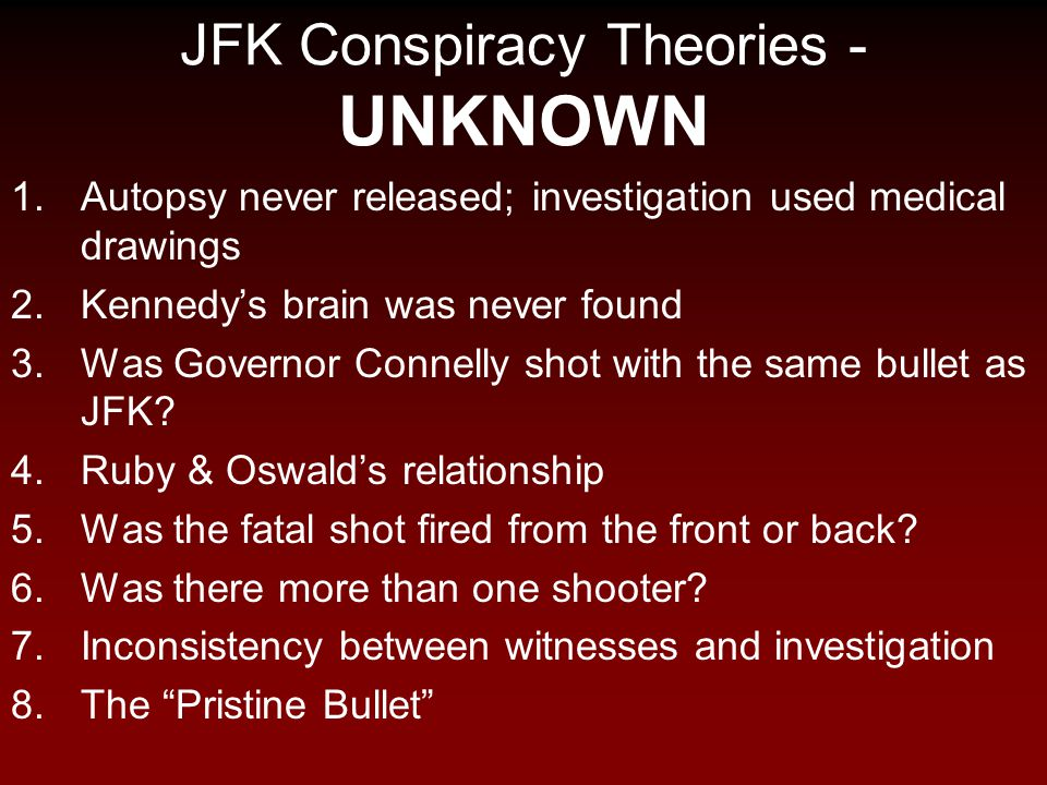JFK Conspiracy Theories - UNKNOWN
