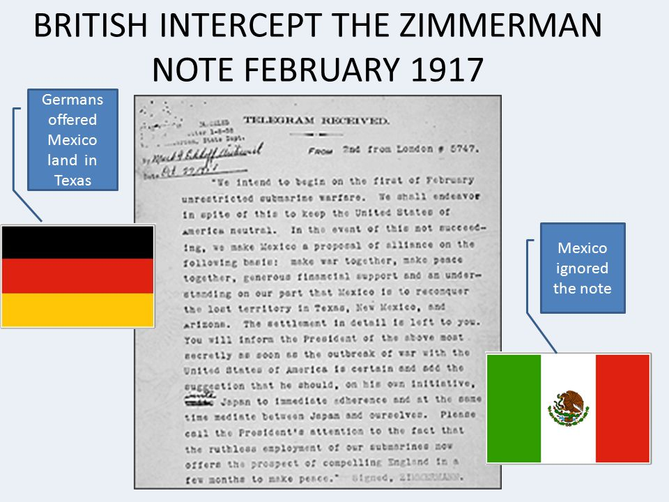 BRITISH INTERCEPT THE ZIMMERMAN NOTE FEBRUARY 1917