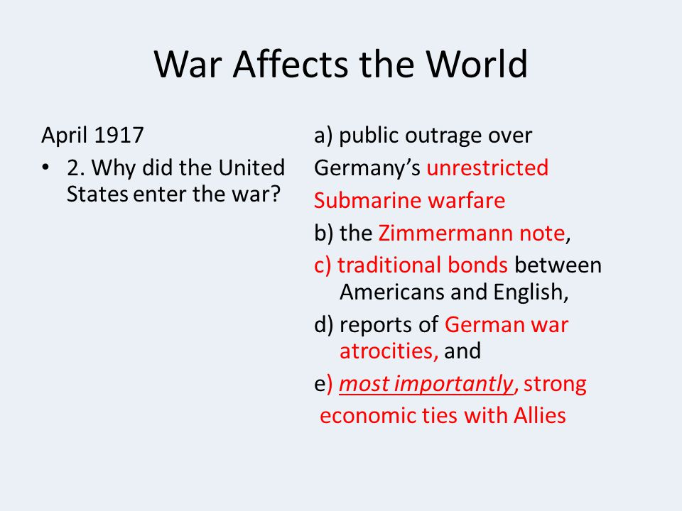 War Affects the World April 1917