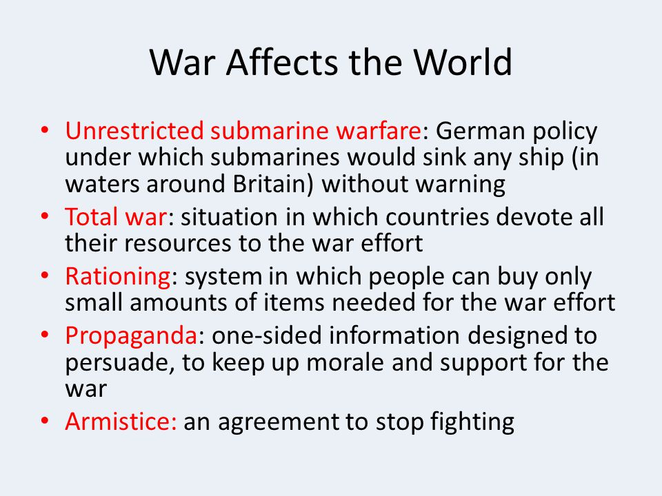 War Affects the World