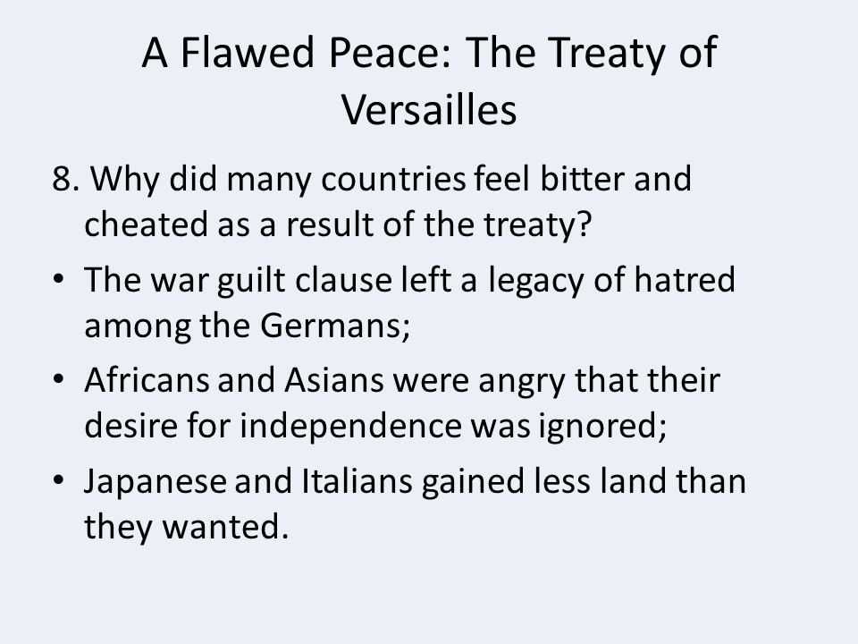 A Flawed Peace: The Treaty of Versailles