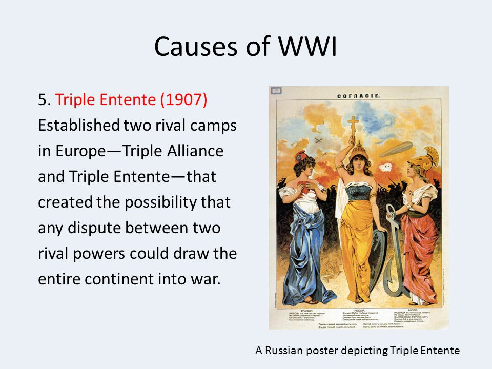 Causes of WWI 5. Triple Entente (1907) Established two rival camps