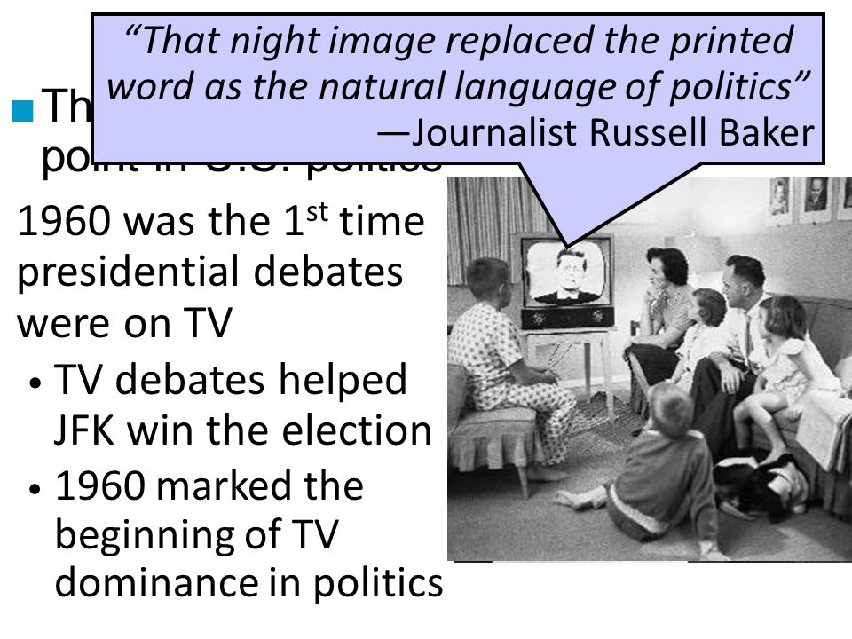 The Election of 1960 That night image replaced the printed word as the natural language of politics